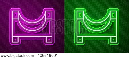 Glowing Neon Line Skate Park Icon Isolated On Purple And Green Background. Set Of Ramp, Roller, Stai