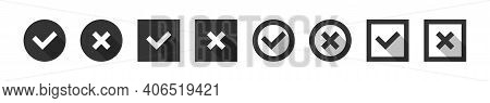 Checkmark Tick Collection, Check Approval Set In Sipmple Black Style, Approved Vote Symbol Illustrat