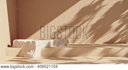 Minimal Abstract Cosmetic Background With Stone Product Podium. Sunshade Shadow On The Beige Wall. P