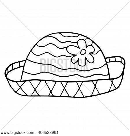 Cartoon Doodle Linear Female Hat With Flower Isolated On White Background. Vector Illustration.