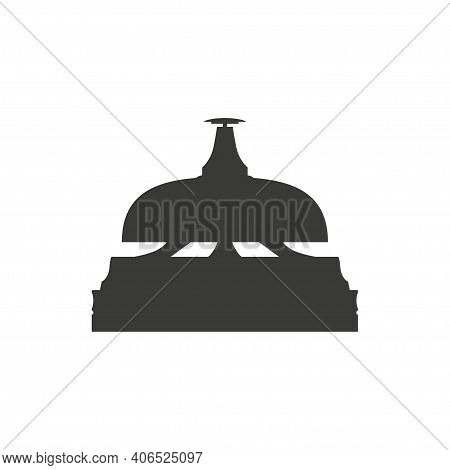 Monochrome Reception Bell Logo. Hotel Service Sign. Icon For Websites And Apps Mobile In Minimalisti
