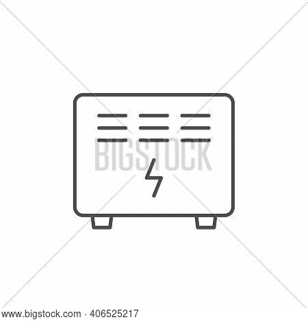 Electric Convector Line Outline Icon Isolated On White. Vector Illustration