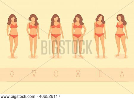 Vector Illustration Set Of Fashionable Girls In Swimsuits. Type Of Female Figures. Hourglass, Triang