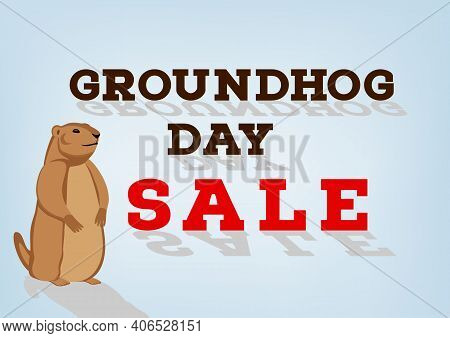 Groundhog Day Sale Inscription On Blue Background. Cartoon Character With Shadow. Happy Groundhog Da