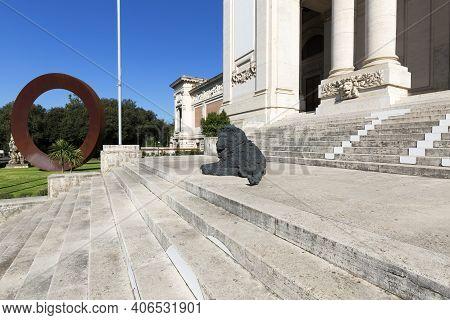 Rome, Italy - October 10, 2020: National Gallery Of Modern Art Next To Villa Borghese Gardens, Bronz