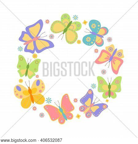 Set Of Colorful Butterflies Arranged In Circle, Isolated On White Background. Round Frame With Butte