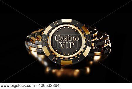 Casino Chips On Black Background. Casino Game Golden 3d Chips. Online Casino Background Banner Or Ca