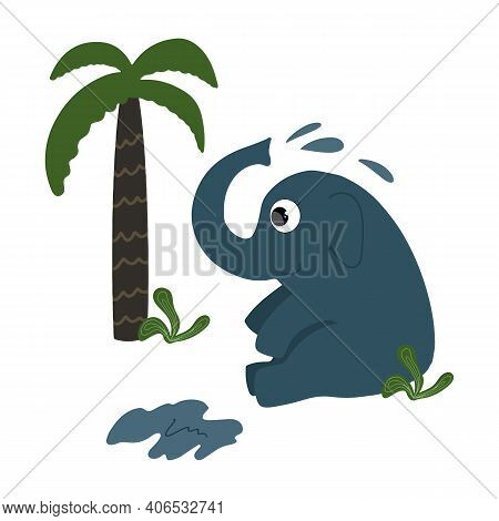 The Cute Elephant Is Watering Itself. Colorful Children's Illustration For Print. Isolated On White.