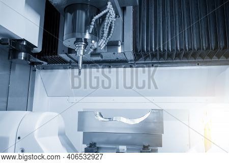 The Hi-precision 5-axis Machining Center Cutting The Rubber Mold Parts. Hi-technology  Mold And Die