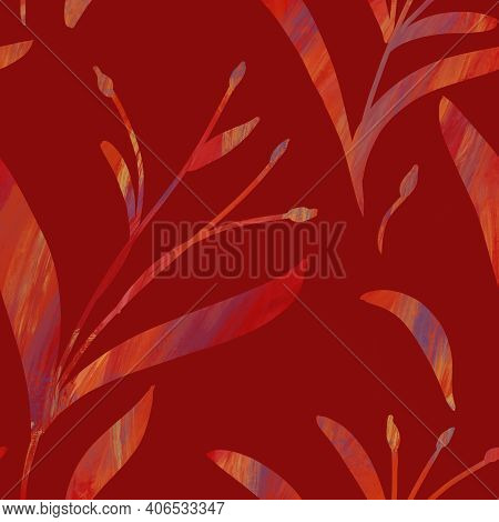 Seamless Pattern With Hand-drawn Shining Red Gradient Branches On Red Background. Linen, Bedclothing