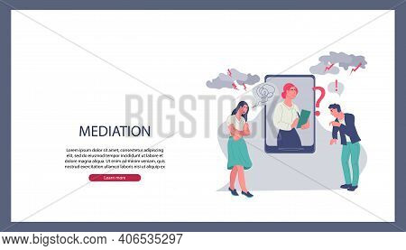Business Mediation In Negotiations Website Banner Template With Mediator Resolving Conflict Online A