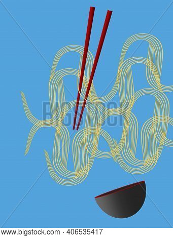 Noodles, Waves Of Noodles, Red Chopsticks And A Black And Red  Bowl Are Seen Isolated On A Blue Back