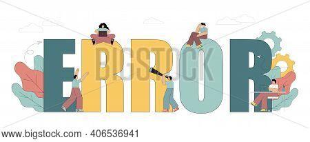 Vector Illustration Isolated On White Background. Error. 404. Not Found. Input Error. Data Entry Err