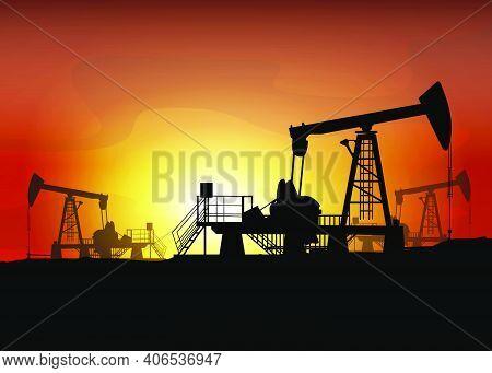 Oil Derrick. Pump Jack In Sunset Landscape. Petroleum-producing. Vector Silhouette