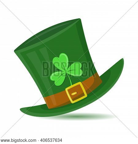 Green St. Patrick's Day Hat With Clover Leaf. Leprechaun's Hat With Shamrock. Vector Illustration In