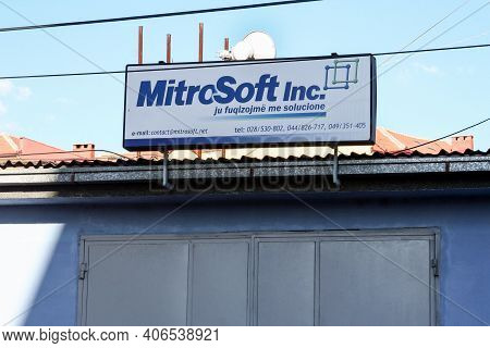 Mitrovica, Kosovo - September 21, 2009: Mitrosoft Sign, An It Computing And Data Startup Imitating T