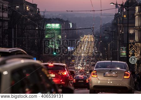 Belgrade, Serbia - January 9, 2020: Traffic Jam Of Cars And Other Vehicles On Kneza Milosa Street At