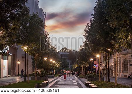 Belgrade, Serbia - August 26, 2020: People Walking And Sitting, On The Pedestrian Street Of Obilicev