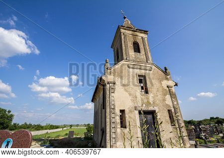Banatsko Novo Selo, Serbia - June 9, 2019: Chapel And Church Of The Serbian Orthodox Cemetery Of Ban