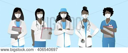 Frontal Heroes, Illustration Of Black Women Doctors And Nurses In Masks. Vector.