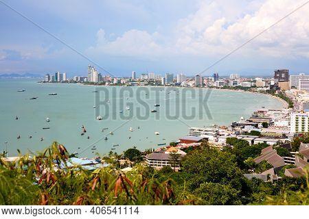 View Of Pattaya Viewpoint From Pratumnak Hill. Pattaya City Skyline In Chonburi Thailand. Pattaya Ci
