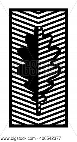 Oak Leaf Cnc Pattern. Decorative Panel, Screen, Wall. Vector Leaf Cnc Panel For Laser Cutting. Templ