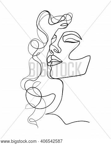 One Line Drawing Face And Hair. Abstract Woman Portrait.  Modern Minimalism Art. - Vector Illustrati