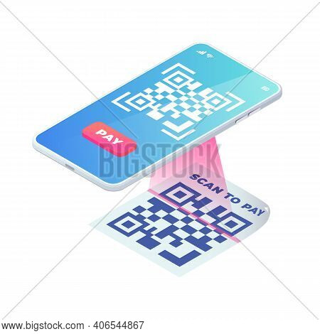 Scan Qr Code On Smartphone Screen. 3d Scanning Barcode Concept, Qr Pay Isometric Vector. Online Cont