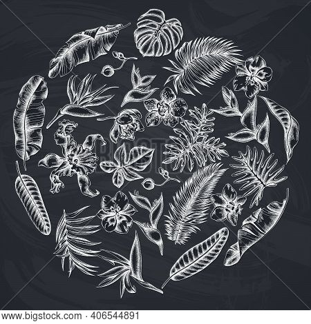 Round Floral Design With Chalk Monstera, Banana Palm Leaves, Strelitzia, Heliconia, Tropical Palm Le