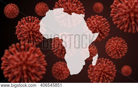 Africa Map Over A Scientific Virus Microbe Background. 3d Rendering