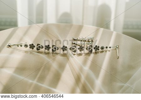 Accessories For The Bride. Earrings And A Bracelet. White Wedding Earrings.