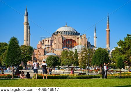Bright Summer Day The Sofia Mosque View At Sultanahmet Square In Istanbul City. Turkey , Istanbul -