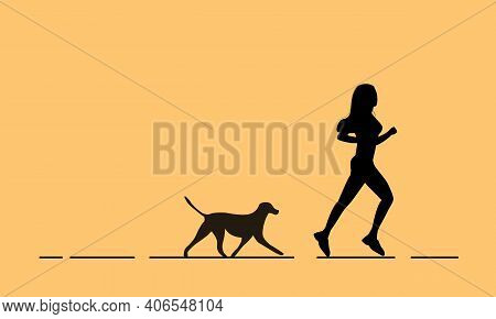 Silhouettes Of Woman And Dog. Activities In The Park, Jogging And Training.jogging Outdoors With The