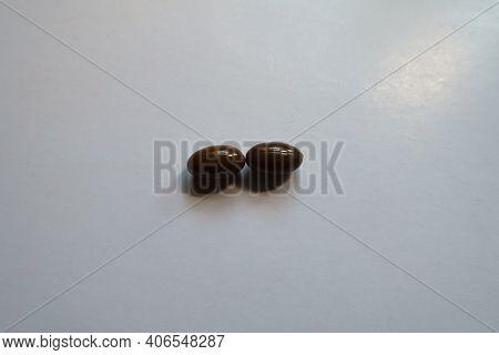 Pair Of Glossy Brown Softgel Capsules Of Vitamin D3