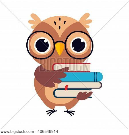 Wise Brown Owl, Cute Bird Teacher Cartoon Character With Stack Of Books Vector Illustration