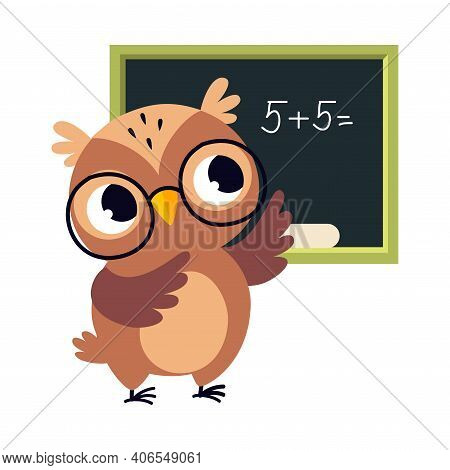 Wise Brown Owl, Cute Bird Teacher Cartoon Character Teaching Math At School Vector Illustration