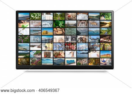 Tv Screen With Lot Of Pictures Isolated On White. Online Tv, Vod Service, Streaming Video. Online Te