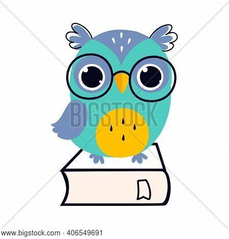Wise Owl In Glasses Sitting On Book, Cute Bird Teacher Cartoon Character Vector Illustration