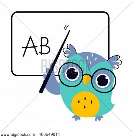 Wise Owl In Glasses, Cute Bird Teacher Cartoon Character Teaching At School Vector Illustration