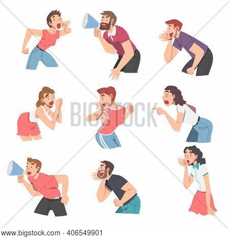People Characters Shouting And Screaming Loud To The Side Holding Hand Near Mouth Vector Illustratio