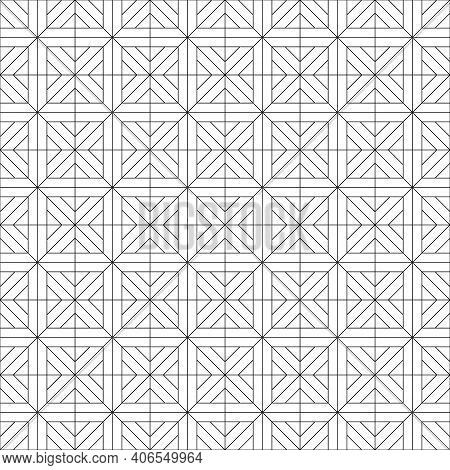 Japanese Seamless Kumiko Pattern In Black Fine Lines.