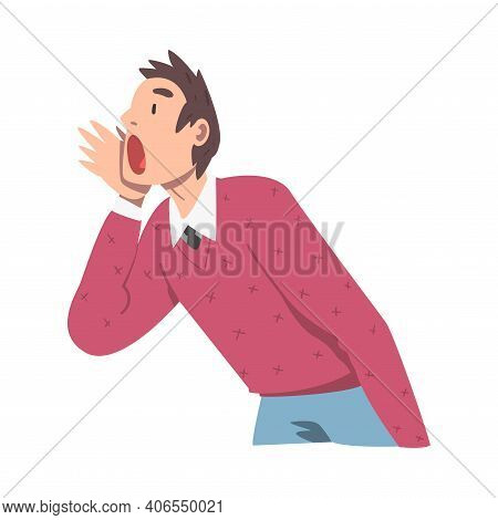 Man Character Holding Hand Near Mouth And Shouting Or Screaming Loud To The Side Vector Illustration