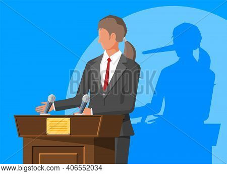 Businesswoman With Long Nose Shadow On Wall. Orator Speaking From Tribune. Public Speaker. Liar, Lyi