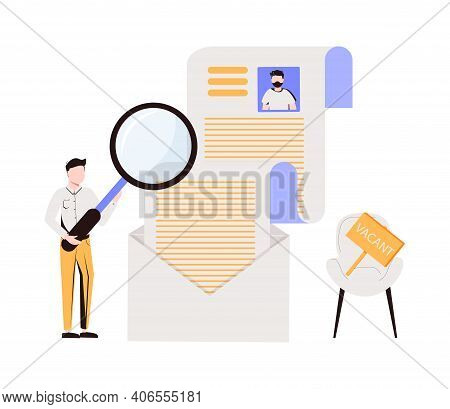 A Guy Examines A Resume Under A Magnifying Glass. Vacant Place. The Concept Of Finding Workers And O