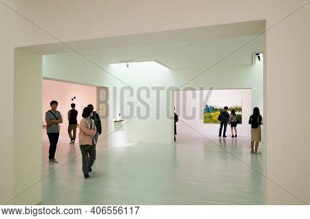 Taipei, Taiwan - October 19th, 2019: people at Taipei Fine Art Museum, Taipei, Taiwan