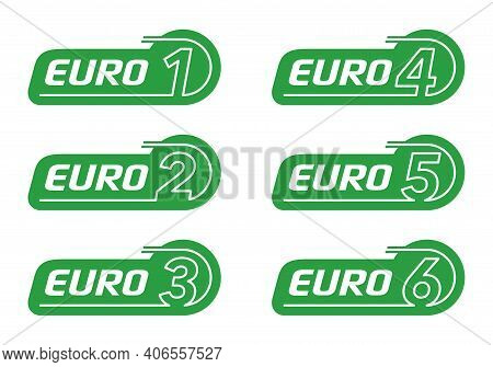 Euro 1, Euro 2, 3, 4, 5 And 6. European Emission Standards Stickers Set - - Acceptable Limits For Ex