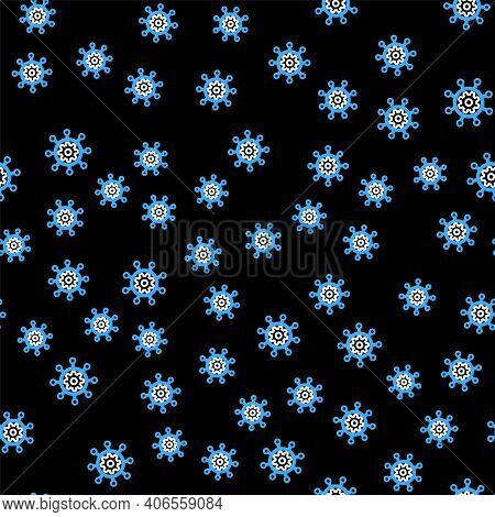 Line Project Management Icon Isolated Seamless Pattern On Black Background. Hub And Spokes And Gear