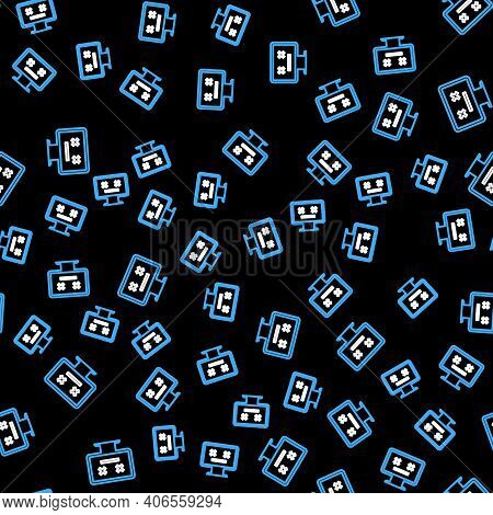 Line Dead Monitor Icon Isolated Seamless Pattern On Black Background. 404 Error Like Pc With Dead Em