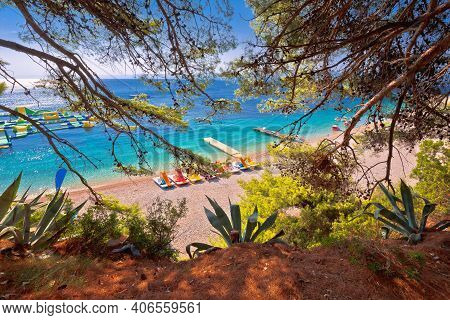 Zlatni Rat Famous Turquoise Beach In Bol On Brac Island View Frome Pine Forest, Golden Horn, Dalmati