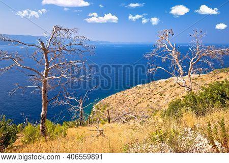 Island Of Brac Southern Coastline View, Dalmatia Archipelago Of Croatia